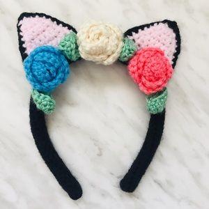 Crocheted Cat Ear Headband in Black Acrylic Yarn